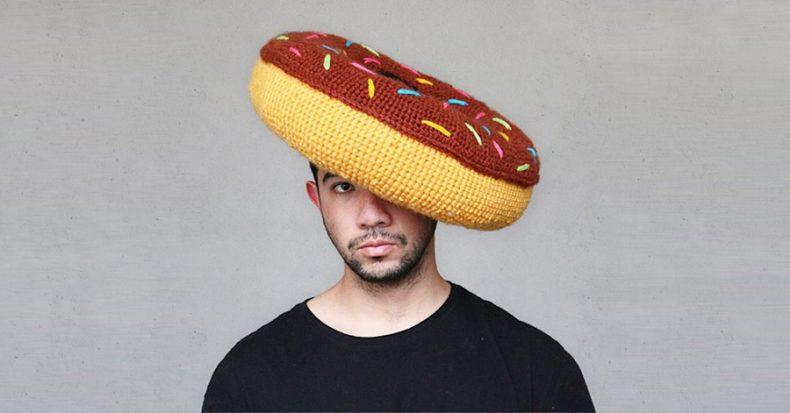 donut pillow on a guy head