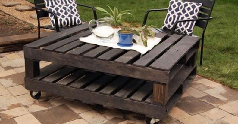 wooden tabele set outside the house