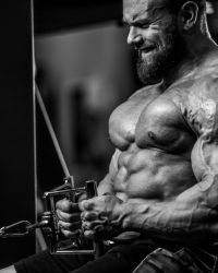 bodybuilder intense workout