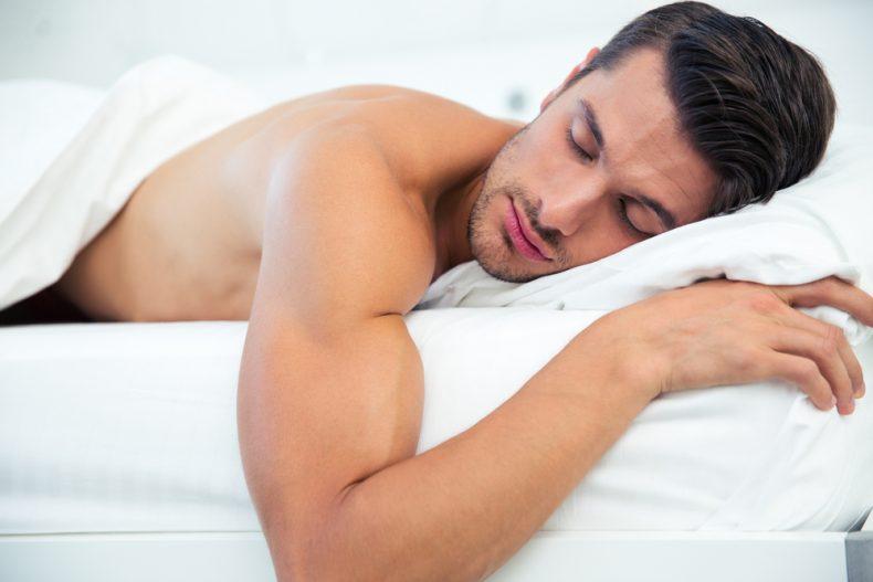 shirtless man sleeping