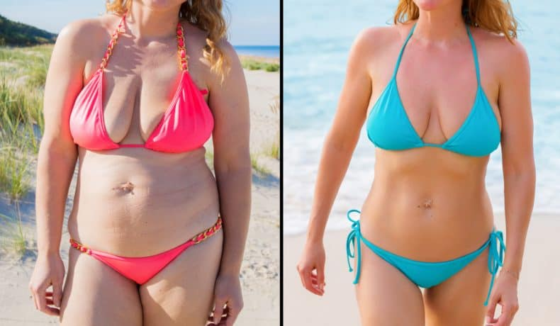 woman in bikini before and after weightloss